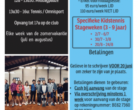 Zomer 2018: Recreatie / Kidstennis stages