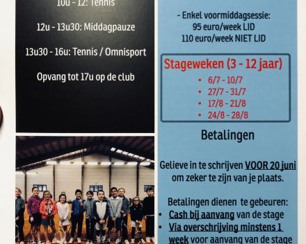 Zomer 2020: Recreatie / Kidstennis stages